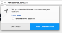 A permission dialog in Firefox requesting geolocation privileges from the user.