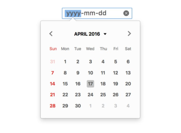 The Datepicker UI is displayed, showing a calendar for April 2016 that the user can select a day from.