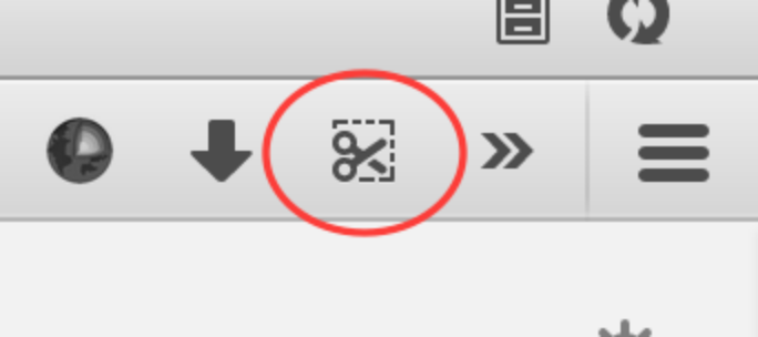 The Firefox Screenshots icon in the toolbar.
