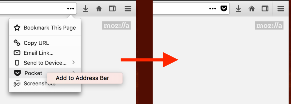 The context menu for the page action menu to pin actions to the URL bar
