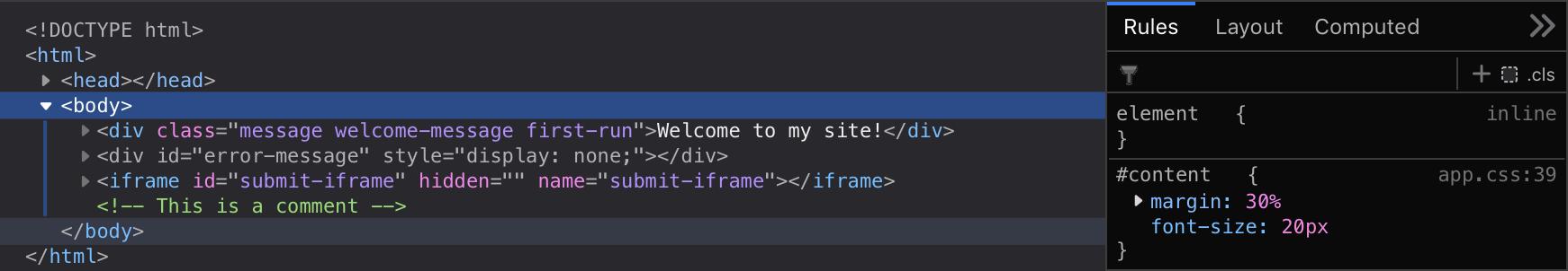 New HTML/CSS (dark)
