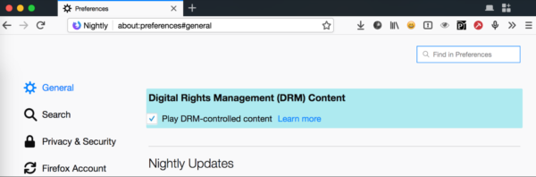 The DRM section of about:performance, with the DRM choices highlighted.
