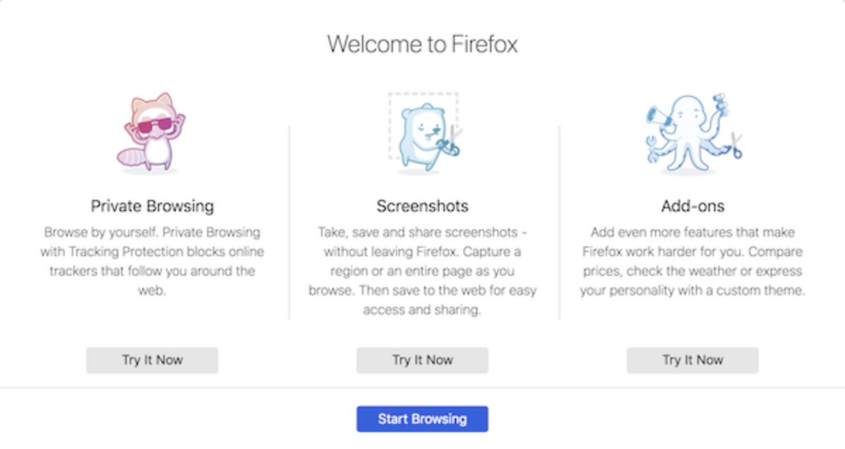 The onboarding critters when first starting up Firefox