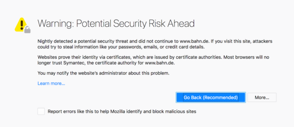 The network error page for a site using a certificate issued by Symantec, with a paragraph explaining that Mozilla has withdrawn trust from that certificate provider.