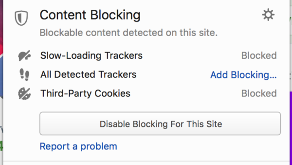 The Identity Panel in Firefox, showing the various blocking capabilities it will soon have for slow trackers, all trackers, and third-party cookies.