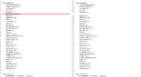 Image of diff showing the GCLI code no longer being loaded in DevTools