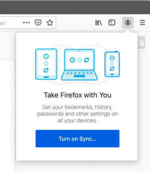 A default toolbar button in the Firefox UI displays a panel to turn on syncing.
