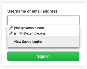 """A """"View Saved Logins"""" option now appears at the bottom of the login autocomplete list."""