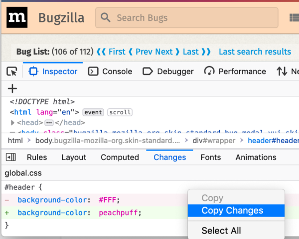 """Style inspector with new """"Copy Changes"""" context menu item"""