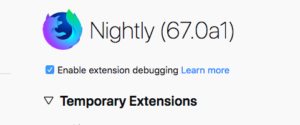 A checkbox has been added to about:debugging to enable extension debugging.