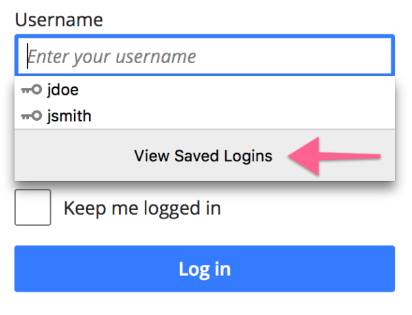 """Screenshot of """"View Saved Logins"""" button in autocomplete suggestion list"""