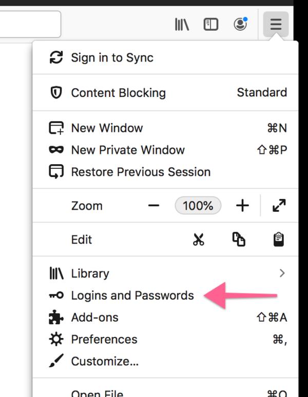 "Screenshot of new ""Logins and Passwords"" app menu item"