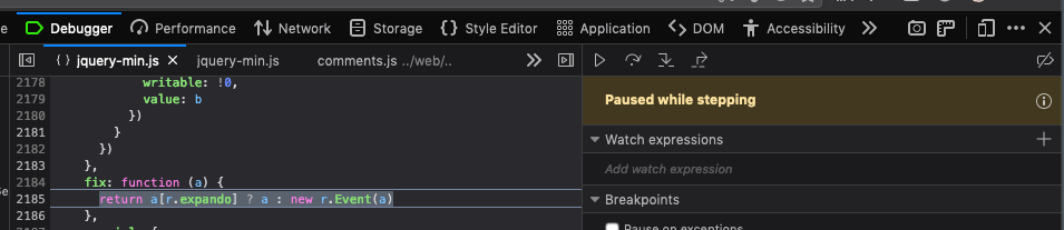 "The DevTools Debugger is being more obvious that execution is paused, and also is explaining why it's paused (in this case, it's saying ""Paused while stepping"")."