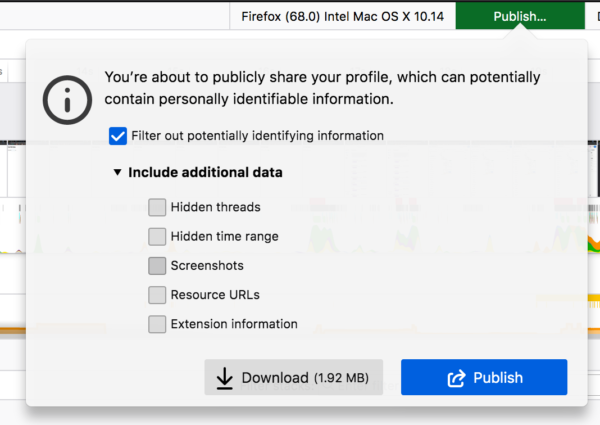 The new profile publish panel with different data to include/filter out from profile (e.g. hidden threads, hidden time range, screenshots resource URLs and extensions)