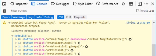 Screenshot of expanded CSS warning showing affected elements