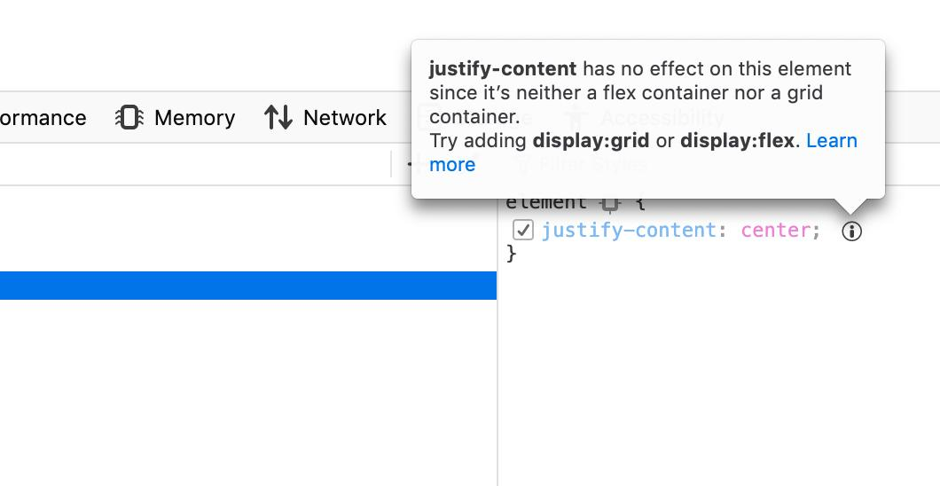 1983c38520 A tooltip in the CSS property inspector explains that a justify-content  property doesn'