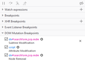 Mockup of the DOM breakpoint list in a side pane of the debugger