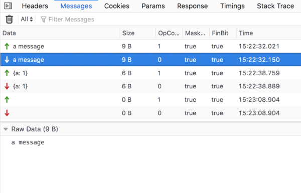 The Network Monitor in the Firefox DevTools showing the Messages pane, which lists WebSocket message traffic.