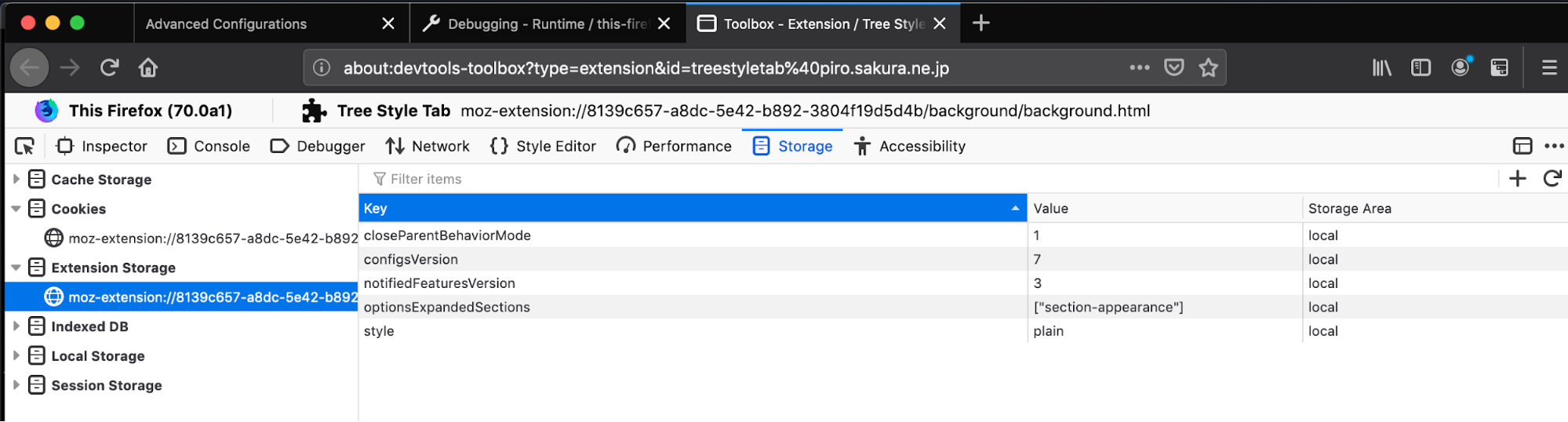 Firefox developer tools showing extension storage data in a multi-column list.