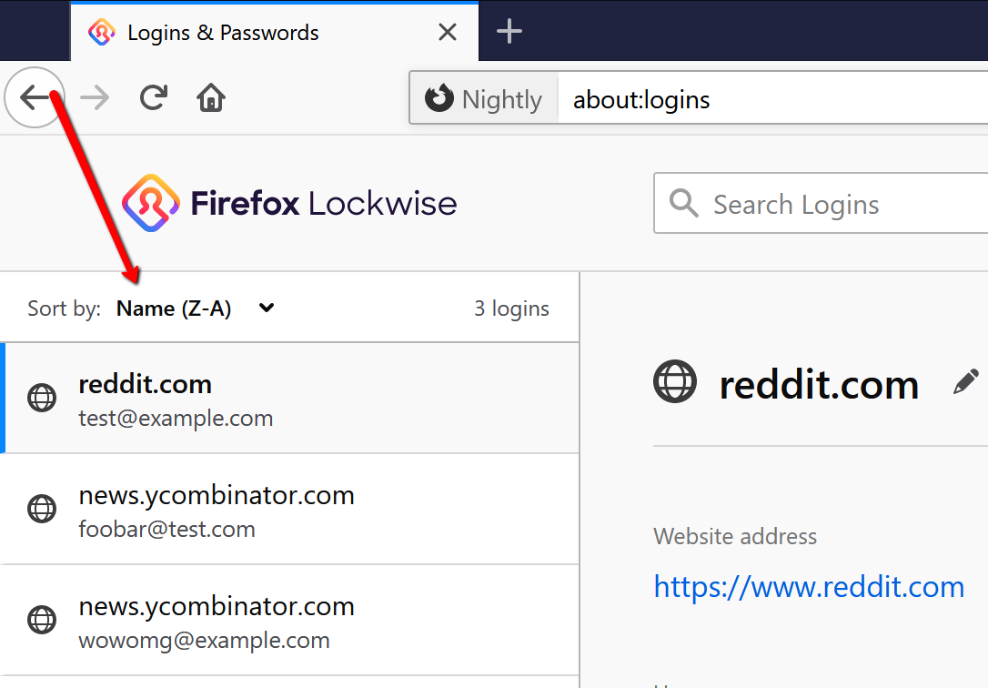 Screenshot showing the location of the reverse alphabetical widget on about:logins