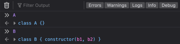 """The DevTools Console showing ES6 classes named """"A"""" and """"B"""" being logged to the console as classes."""