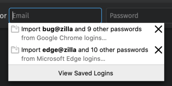 An email field showing an autocomplete popup offering to import a set of credentials from another installed browser - in this case, Google Chrome.