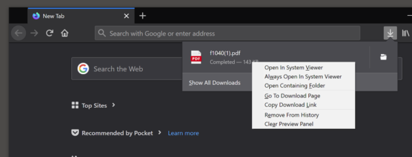 """The context menu for an item in the Downloads Panel showing """"Open in system viewer"""" and """"Always open in system viewer"""" as the top two menu items."""