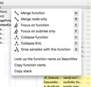 This shows the context menu that includes call tree transforms, an ability to search on searchfox, copy the function name, and copy the stack