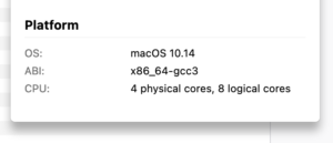 A platform popup that shows the OS, the ABI, and CPU information such as the number of physical and logical cores