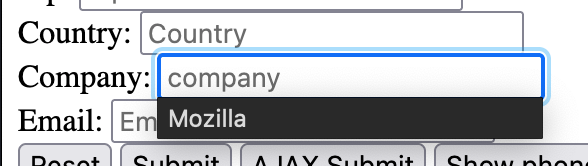 """The autocomplete dropdown is shown below a form input. The dropdown is dark themed, and suggests the string """"Mozilla"""" for a """"Company"""" form field."""